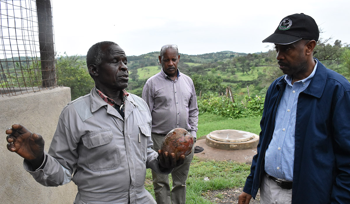 ED NAADS Dr. Samuel Mugasi on a monitoring visit to Mpumwire's farm in Kazo